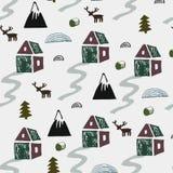 Одичалая природа с домами, горами, оленями и иллюстрацией деревьев nordic ландшафта Безшовная картина в скандинавском стиле иллюстрация штока