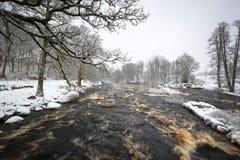 Одичалое река Morrum в снежной зиме стоковая фотография rf