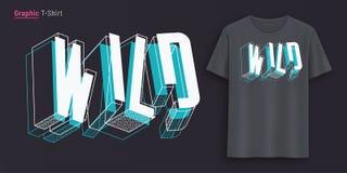 одичало Графический дизайн футболки, оформление, печать с 3d ввел текст в моду иллюстрация вектора