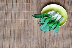 Одичалые зеленые луки лежат на желтом поддоннике овощи шнура еды cauliflowers морковей фасолей естественные Подарки природы Стоковые Фотографии RF
