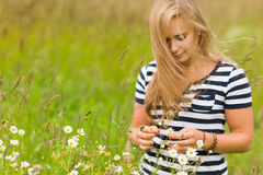 Одичалые цветки и девушка стоковое изображение rf