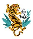 Одичалый Иллюстрация вектора тигра с тропическими листьями Ультрамодный дизайн для карточки, плакат, футболка и другое используют Стоковая Фотография RF