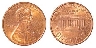 Одна американская монетка цента Стоковое Фото