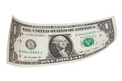 Одна банкнота доллара на белой предпосылке Стоковая Фотография