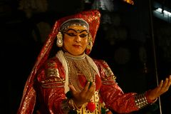 Одна из главных форм классического танца Кералы стоковая фотография rf