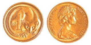 Одна монетка австралийского цента Стоковое фото RF
