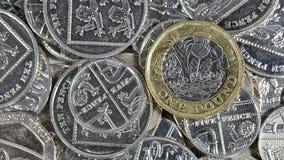 Одна монетка фунта - великобританская валюта Стоковые Фото