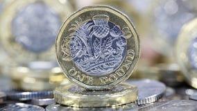 Одна монетка фунта - великобританская валюта Стоковая Фотография RF