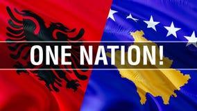 Одна нация на флагах Албании и Косова Развевая дизайн флага, перевод 3D Флаг Албании Косова, изображение, обои, изображение alber иллюстрация штока