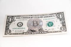 Одна серебряная концепция дела bitcoin стоковые фотографии rf