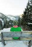 Одни девушки туристов сидя на стенде в зиме и смотря горы Стоковая Фотография RF