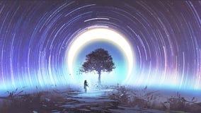 Одно дерево в космическом пространстве иллюстрация штока