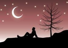 одно усаживание ночи Стоковая Фотография