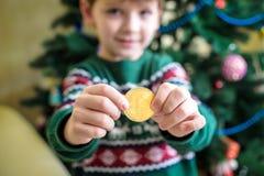Одно Bitcoin в руке молодого мальчика Концепция Секретное цифровое золото Стоковые Фотографии RF