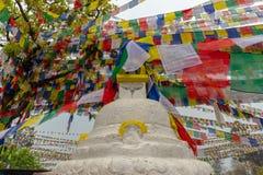 Одно stuppa и много флагов молитве стоковые фото