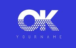 ОДОБРЕННЫЙ дизайн логотипа ОДОБРЕНН Dotted Письма с голубой предпосылкой иллюстрация вектора