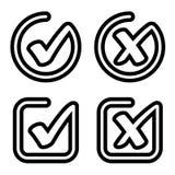 Одобренный контрольной пометкой отвергнутый вектор символа Стоковые Изображения RF