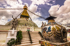 18-ое августа 2014 - висок Boudhanath в Катманду, Непале Стоковые Фото