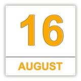 16-ое августа День на календаре Стоковое фото RF