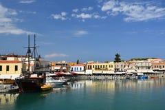 20-ое августа 2017 Rethymno Крит, Греция Старая венецианская гавань Rethimno Стоковое Изображение