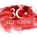 30-ое августа, Turkish дня победы говорит 30 Agustos, Zafer Bayrami Kutlu Olsun также вектор иллюстрации притяжки corel Иллюстрация вектора
