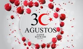 30-ое августа, Turkish дня победы говорит 30 Agustos, Zafer Bayrami Kutlu Olsun также вектор иллюстрации притяжки corel Бесплатная Иллюстрация