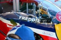 21-ое апреля 2018: Honda NSR 500 легендарного Спенсера Freddie водителя на фестивале 2018 сказания мотора на цепи Imola Стоковое фото RF