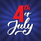 4-ое -го июль - почерк, каллиграфия, оформление, помечая буквами иллюстрация вектора