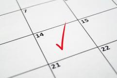 14-ое -го февраль с красным чертежом карандаша метка Стоковое фото RF