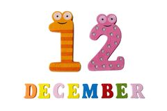 12-ое декабря на белых предпосылке, номерах и письмах Стоковая Фотография RF