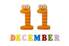 11-ое декабря на белых предпосылке, номерах и письмах Стоковое Фото