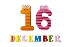 16-ое декабря на белых предпосылке, номерах и письмах Стоковое фото RF