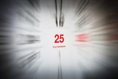 25-ое декабря в календаре Стоковая Фотография RF
