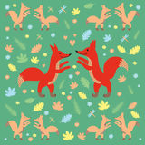 Ое-зелен картины Fox темное иллюстрация штока