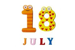 18-ое июля Изображение 18-ое июля на белой предпосылке Стоковое Изображение RF