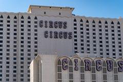 9-ОЕ ИЮЛЯ 2018 - ЛАС-ВЕГАС, НЕВАДА: Взгляд гостиницы и казино цирка цирка вдоль прокладки Лас-Вегас стоковая фотография rf