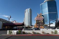 9-ОЕ ИЮЛЯ 2018 - ЛАС-ВЕГАС, НЕВАДА: Взгляд гостиницы и казино цирка цирка вдоль прокладки Лас-Вегас Другие будучи построенным зда стоковые фото
