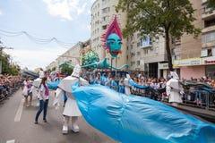 12-ое июня 2018, РОССИЯ, ВОРОНЕЖ: Парад уличных театров Международный Platonic фестиваль Стоковое Изображение RF