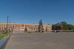 11-ое июня 2018 Россия Город Domodedovo день Памятник Ленина в квадрате главного города стоковые фото