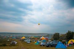 21-ое июня 2016 Arkaim, область Челябинска, Россия и солнцеворот в запасе Arkaim стоковая фотография