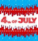 4-ое июля Поздравительная открытка, знамя, рогулька в ярких цветах E С элементами плоского дизайна Стоковые Фото