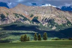 14-ое июля 2016 - поле с горами и зелеными деревьями - горы Сан-Хуана, Колорадо, США Стоковое Фото