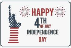 4-ое июля Счастливый День независимости иллюстрации вектора Америки Стоковое Изображение