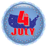 4-ое июля Яркий значок Поздравительная открытка с Днем независимости праздника, 4-ое июля Стоковая Фотография RF