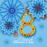 8-ое марта голубое приветствие конструкции карточки флористическое иллюстрация вектора