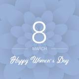 8-ое марта голубое приветствие конструкции карточки флористическое Международный счастливый день ` s женщин Предпосылка Paperholi Стоковое Изображение