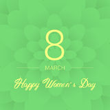8-ое марта голубое приветствие конструкции карточки флористическое Международный счастливый день ` s женщин Предпосылка Paperholi Стоковая Фотография RF