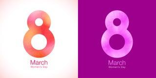 8-ое марта - дизайн бумаги дня женщин шаблона поздравительной открытки Символ международного дня ` s женщин Стоковые Изображения RF