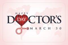 30-ое марта, Дня мира доктора поздравительная открытка концепции, национальные доктора День Шаблон cal иллюстрация штока