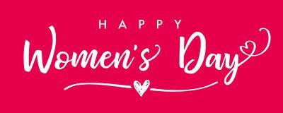 8-ое марта, знамя пинка литерности дня счастливых женщин элегантное Стоковое фото RF